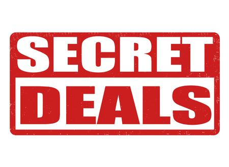 secret service: Secret deals grunge rubber stamp on white background, vector illustration