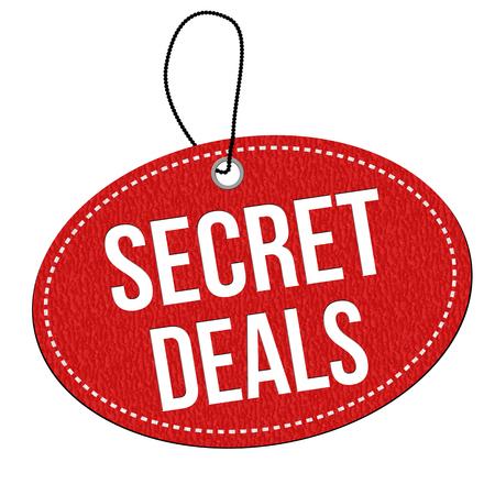 Secret deals red leather label or price tag on white background, vector illustration Illustration