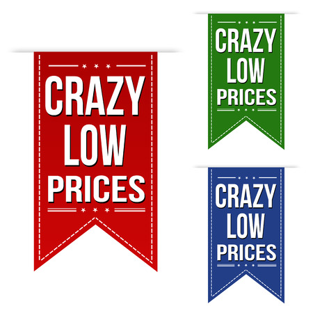 low prices: Crazy low prices banner design set over a white background, vector illustration