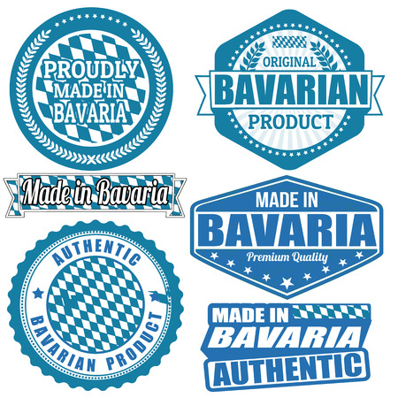 bavaria: Set of stamps and labels with the text made in Bavaria written inside on white background, vector illustration