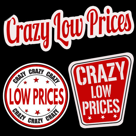 low prices: Crazy low prices sticker set on black background, vector illustration