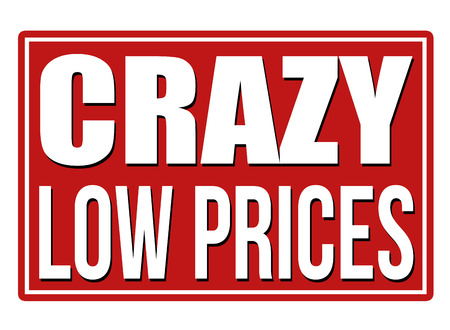 low: Crazy low prices red sign isolated on a white background, vector illustration