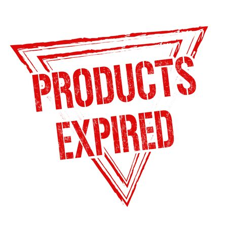 validez: Products expired grunge rubber stamp on white background, vector illustration