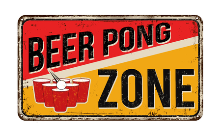 rusty metal: Beer pong zone vintage rusty metal sign on a white background, vector illustration