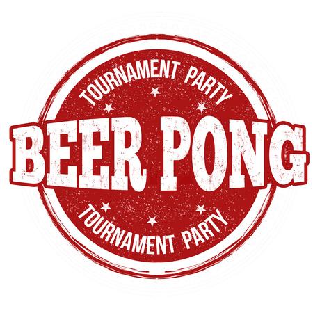 Pong de la cerveza grunge sello de goma en el fondo blanco