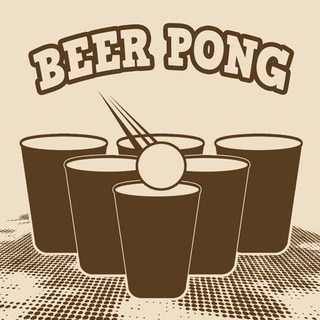 retro grunge: Beer pong grunge poster on retro style