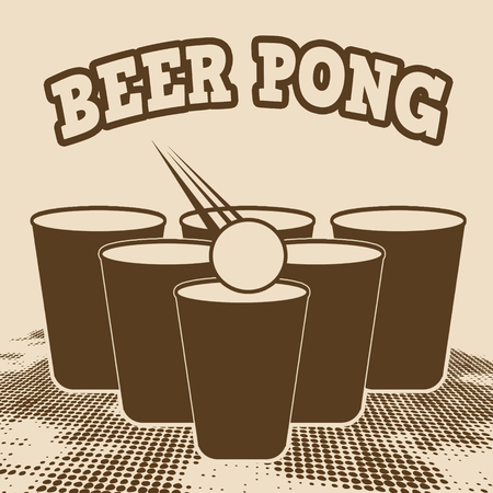Beer pong grunge poster on retro style