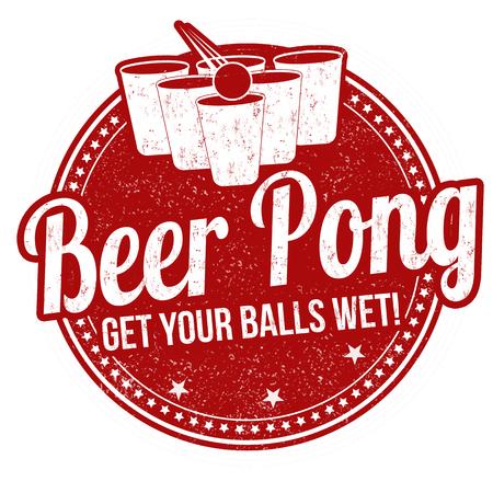 Piwo pong pieczątka grunge na białym tle
