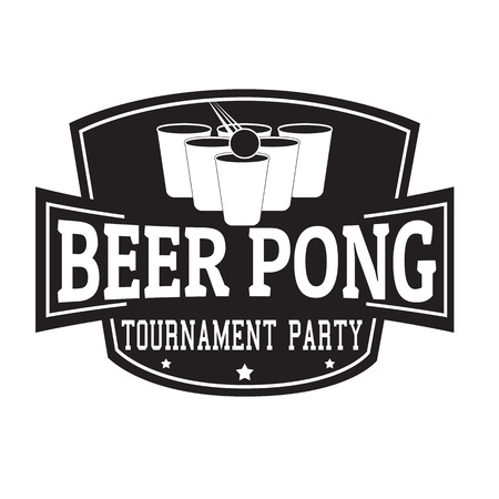 Beer pong tournament party label or stamp on white background