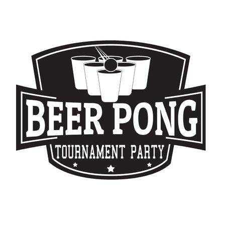 Piwna pong turnieju przyjęcia etykietka lub znaczek na białym tle