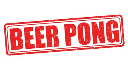 pong: Beer pong grunge rubber stamp on white background