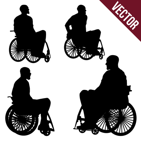 paralyze: People in a wheelchair on a white background