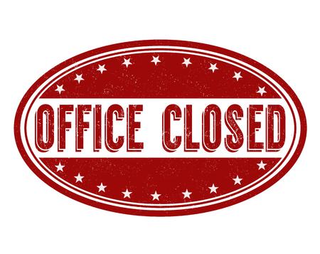 Büro geschlossen Grunge-Stempel auf weißem Hintergrund