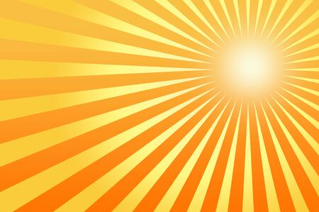 Sun sunburst pattern. Orange background