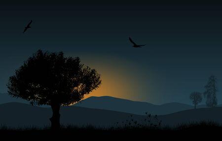 morning sunrise: Beautiful landscape with tree in the blue morning sunrise