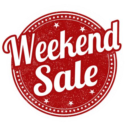 fin de semana: venta de fin de semana grunge sello de goma en el fondo blanco Vectores