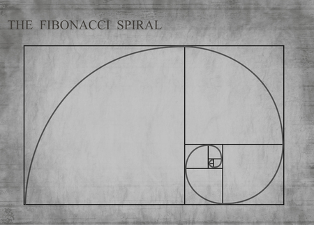 The Fibonacci spiral (also known as the Golden Spiral) on grey retro style background