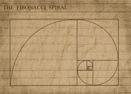 fibonacci: The Fibonacci spiral (also known as the Golden Spiral) on sepia retro style background