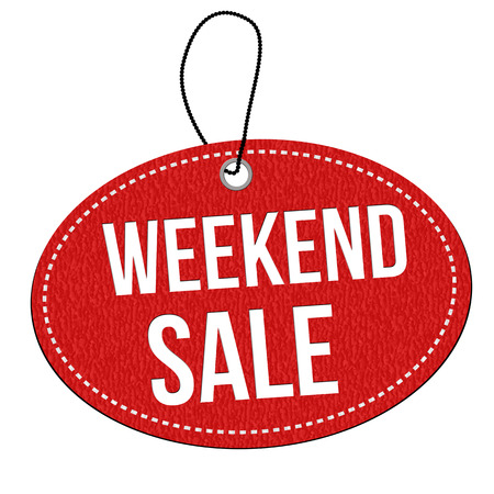 leather label: Weekend sale red leather label or price tag on white background Illustration