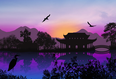 idyllic: Beautiful asian landscape near water on idyllic sunset background, vector illustration