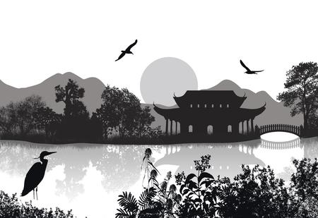 water animal bird card  poster: Beautiful asian landscape near water on white background, vector illustration Illustration