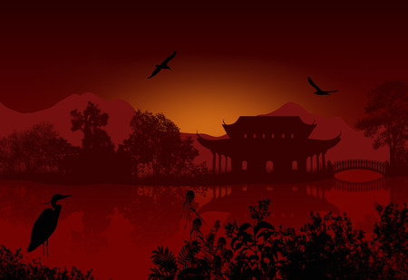 water animal bird card  poster: Beautiful asian landscape near water on red sunset, vector illustration