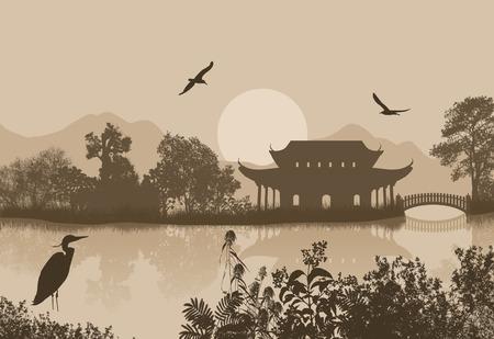 レトロなスタイルの背景、ベクトル図に水の近く美しいアジアの風景