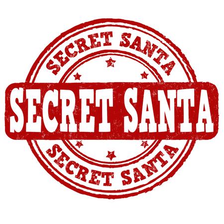 secrets: Secret Santa grunge rubber stamp on white background, vector illustration