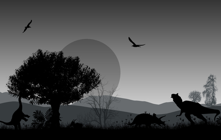 triassic: Dinosaurs silhouettes in beautiful landscape on grey background, vector illustration Illustration