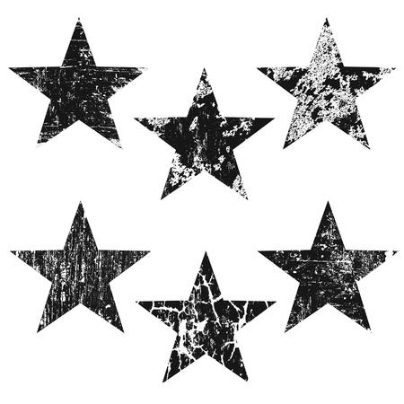 Grunge stars on white background, vector illustration