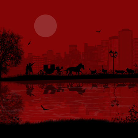 city at night: Carriage and lovers at red night in romantic city place near water and many cats, vector illustration