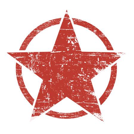 Vintage retro grunge red star in circle on white background, vector illustration Stock Illustratie