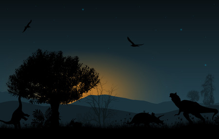 triassic: Dinosaurs silhouettes in beautiful landscape on blue sunset background, vector illustration Illustration