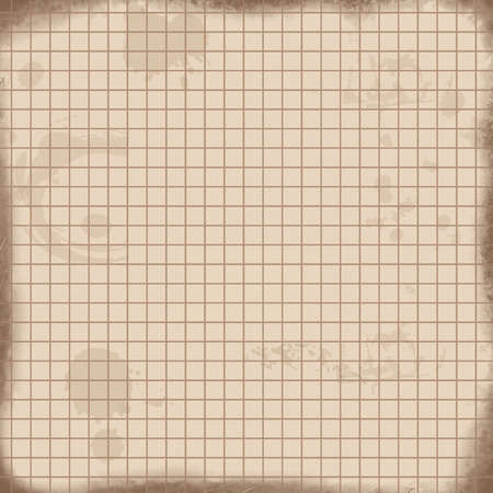 mathematics: Vintage math paper texture background. Sheet of exercise book for math on retro style, vector illustration Illustration