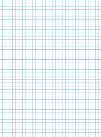 papel de notas: Libro de ejercicios papel de textura de fondo con el margen rojo, ilustración vectorial