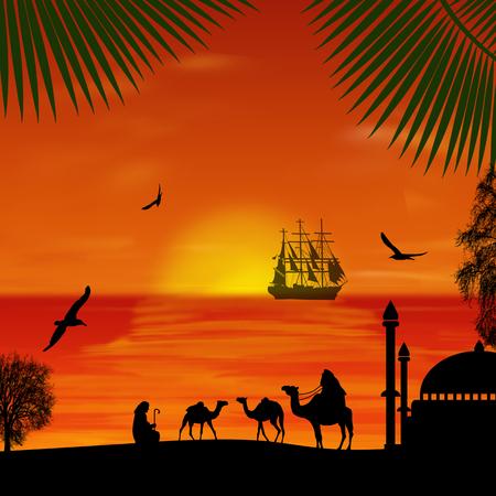 convoy: Camel caravan at beautiful sunset on the beach, vector illustration Illustration