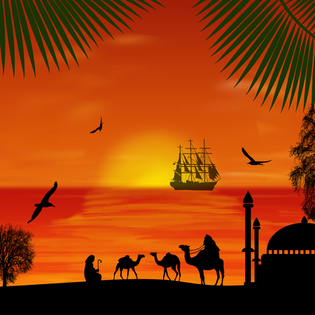 Camel caravan at beautiful sunset on the beach, vector illustration Illustration