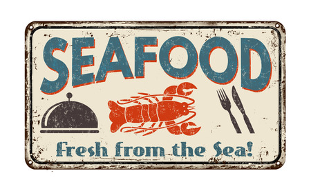 Seafood  vintage rusty metal sign on a white background, vector illustration