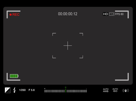 candid: Photo or video camera viewfinder with exposure and camera settings on screen. Grey screen background, vector illustration