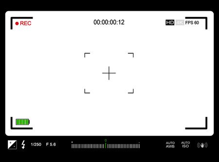 Photo or video camera viewfinder with exposure and camera settings on screen, vector illustration Illustration