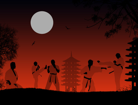 practice: Karate fighters silhouette in the sunset background, vector illustration Illustration