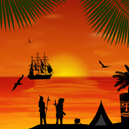 Native american indian silhouettes at beautiful sunset on the beach, vector illustration