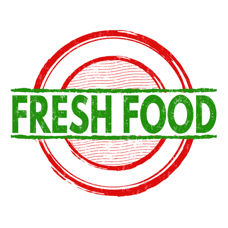 Fresh food grunge rubber stamp on white background, vector illustration Illustration