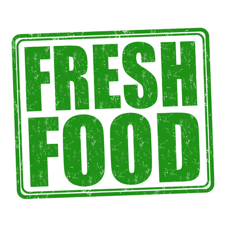 fresh food: Fresh food grunge rubber stamp on white background, vector illustration Illustration