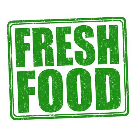 timbre en caoutchouc grunge nourriture fraîche sur fond blanc, illustration vectorielle Vecteurs