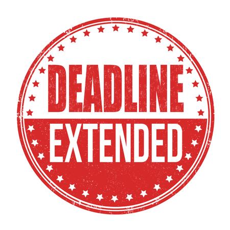 Deadline extended grunge rubber stamp on white background, vector illustration