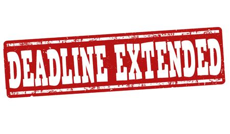 extended: Deadline extended grunge rubber stamp on white background, vector illustration