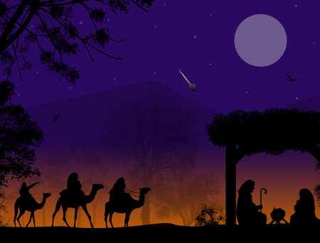 Christmas nativity scene with baby Jesus in the manger, Mary and Joseph in silhouette, three wise men or kings and star of Bethlehem Vectores