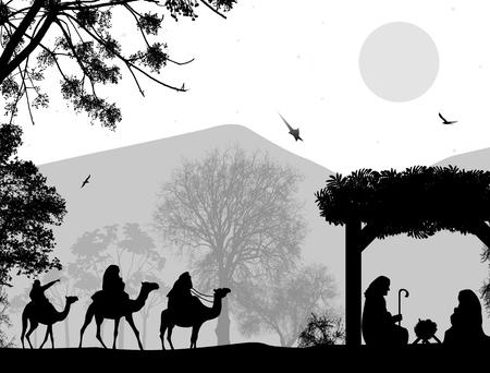 Kerstmis Kerststal met baby Jezus in de kribbe, Maria en Jozef in silhouet, drie wijze mannen of koningen en ster van Bethlehem