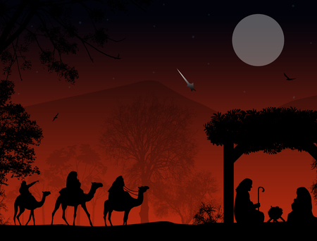 christ is born: Christmas nativity scene with baby Jesus in the manger, Mary and Joseph in silhouette, three wise men or kings and star of Bethlehem Illustration
